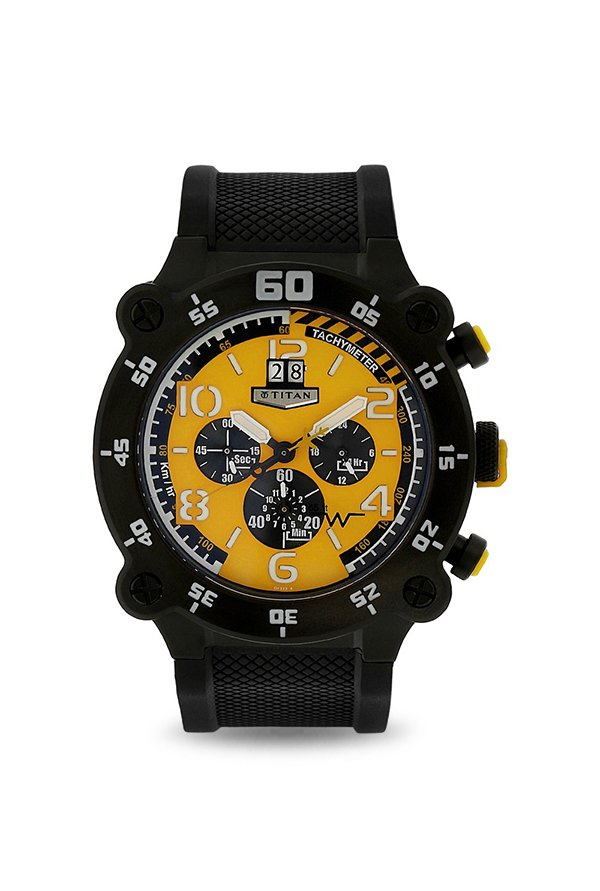 Titan 1611NP01 Analog Yellow Dial Men's Watch (1611NP01)