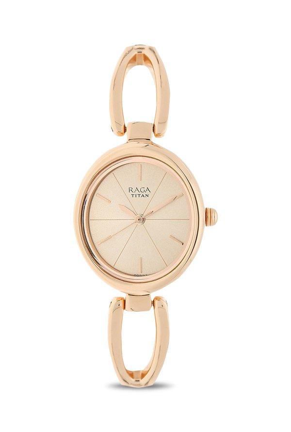 Titan Raga 2579WM01 Viva Analog Rose Gold Dial Women's Watch (2579WM01)