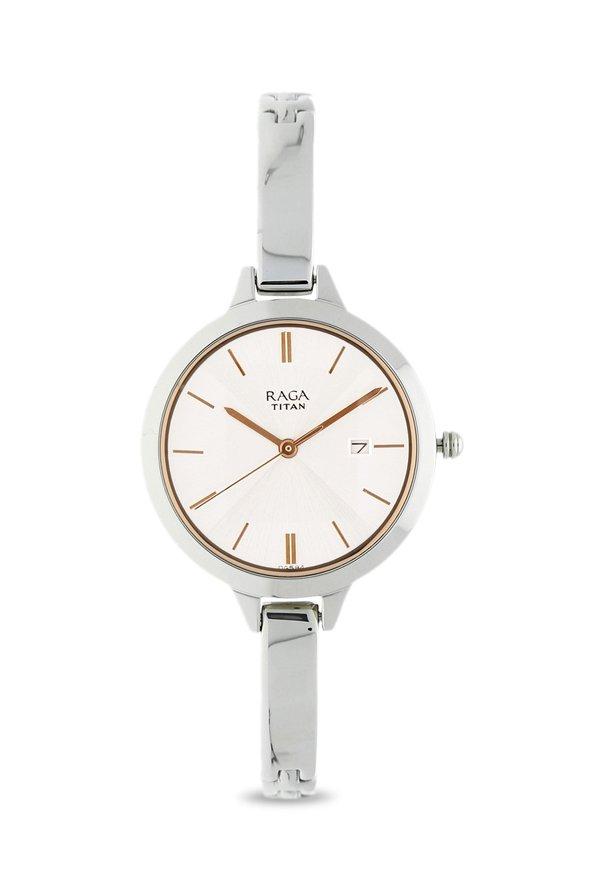 Titan Raga 2578SM02 Viva Analog Silver Dial Women's Watch (2578SM02)