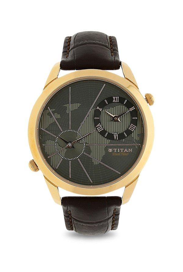 Titan 1707WL01 Globe Trotter Collection Brown Analogue Men's Watch (1707WL01)