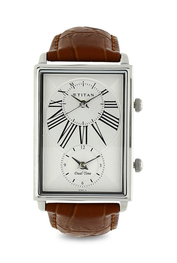 Titan 1708SL01 Globe Trotter Collection White Dual Time Analogue Men's Watch (1708SL01)