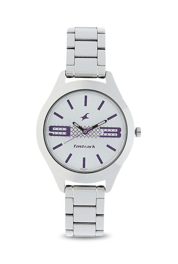 Fastrack NJ6153SM01 Silver Toned Printed Analogue Women's Watch (NJ6153SM01)