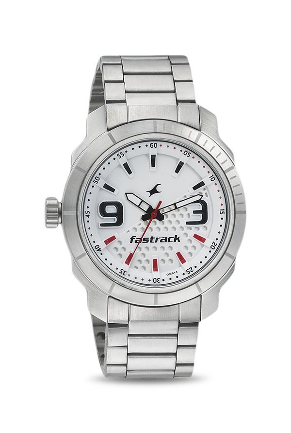 Fastrack 3168SM01 Loopholes Analog White Dial Men's Watch (3168SM01)