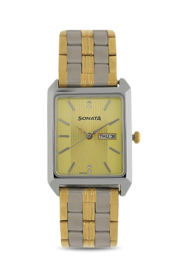 Sonata 7007BM01 Analog Gold Dial Men's Watch (7007BM01)