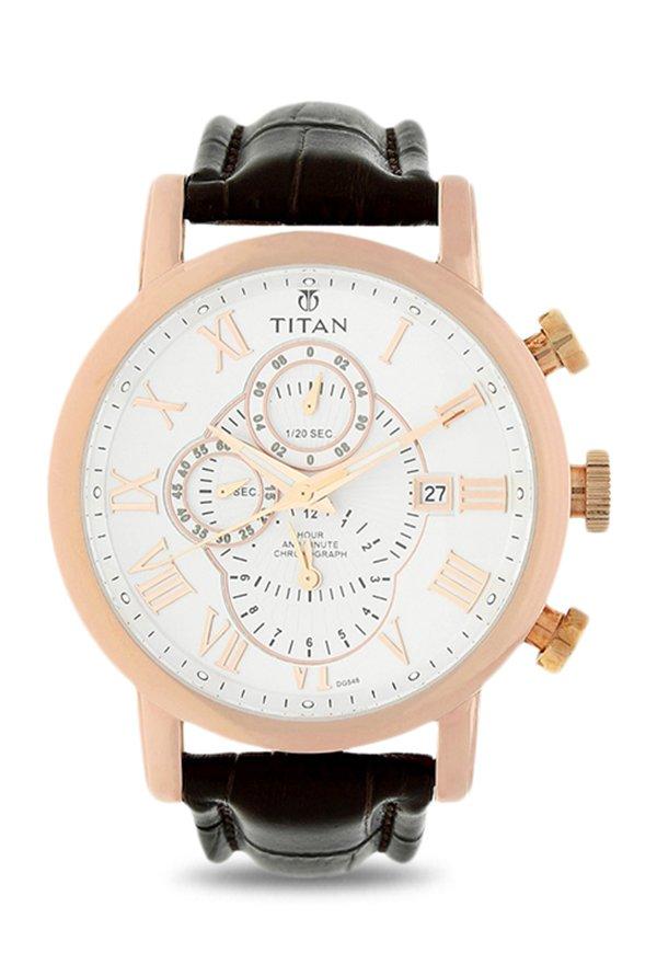 Titan 9234Wl03 Chronograph White Dial Men's Watch (9234Wl03)