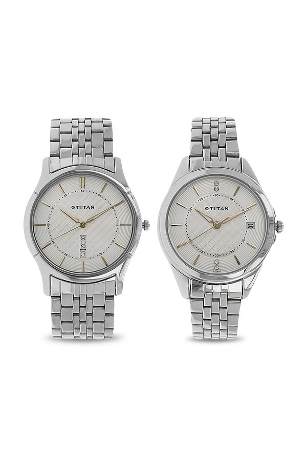 Titan 16362565SM01 Analog Silver Dial Couple Watch (16362565SM01)
