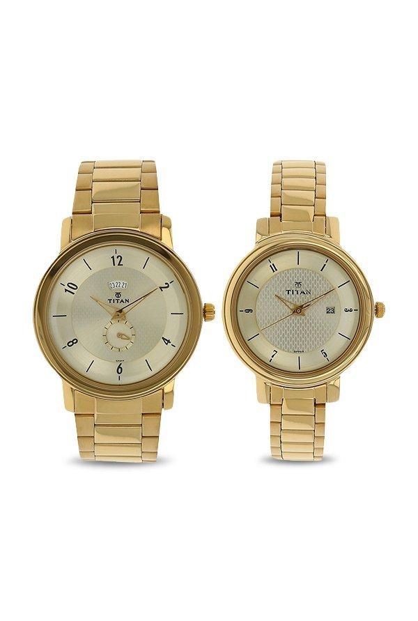 Titan 94402554YM01 Analog Gold Dial Women's Watch (94402554YM01)
