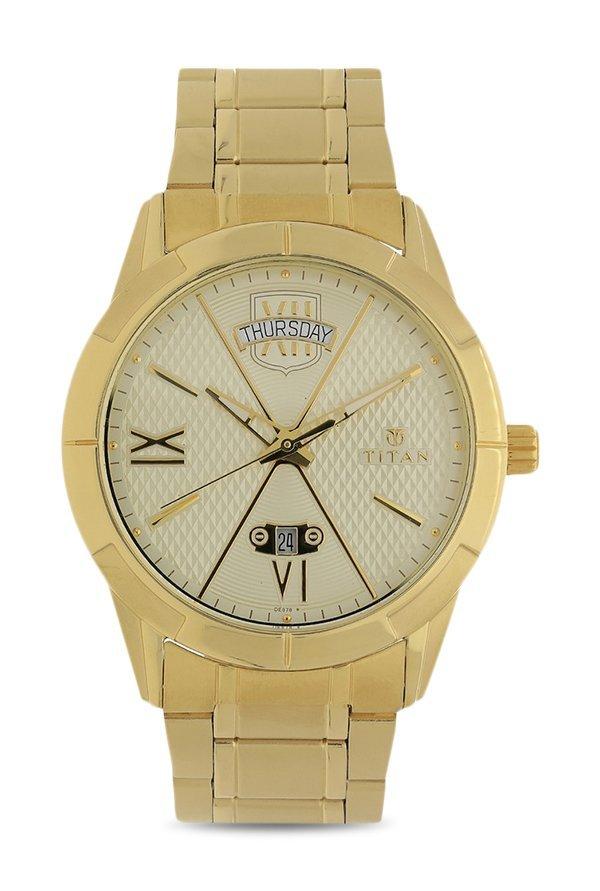 Titan 1690YM02 Analog Gold Dial Men's Watch (1690YM02)