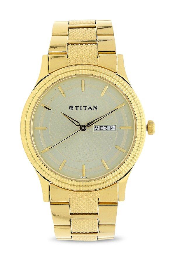 Titan Karishma 1650YM06 Analog Golden Dial Men's Watch (1650YM06)