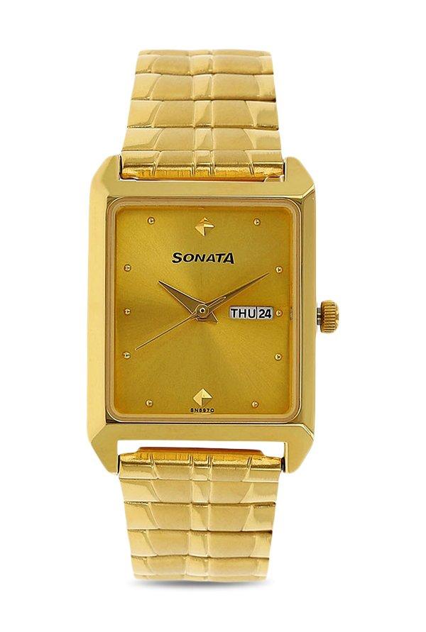 Sonata 7007YM05 Analog Gold Dial Men's Watch (7007YM05)