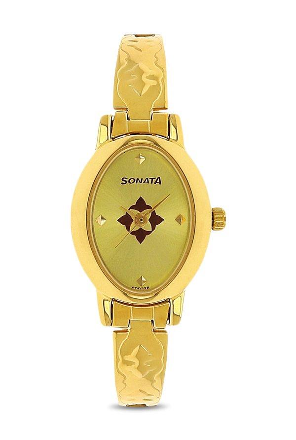 Sonata NK8100YM04 Gold Toned Analog Women's Watch (NK8100YM04)