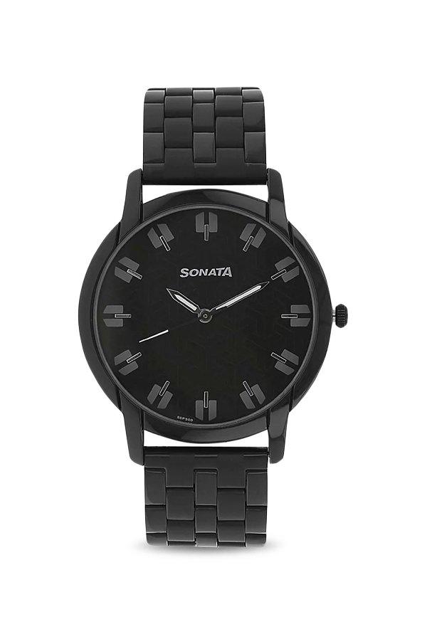 Sonata NK77031NM01 Black Analog Men's Watch (NK77031NM01)