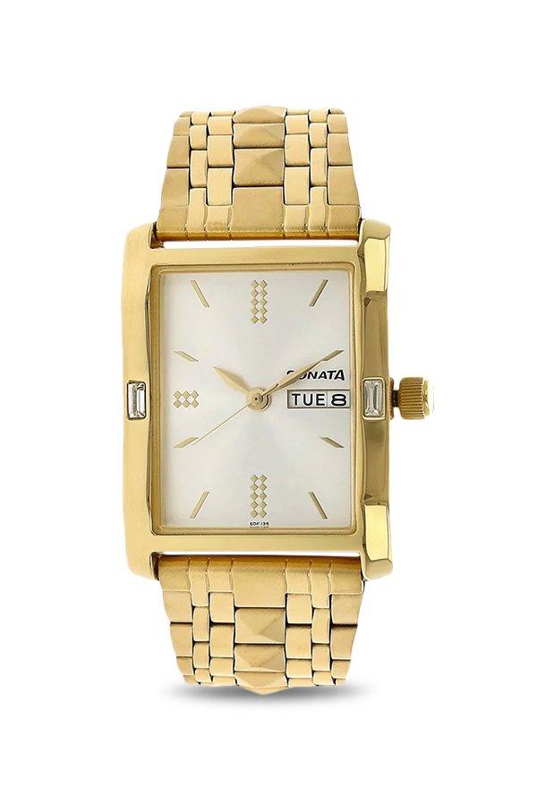 Sonata NK7115YM03 Gold Toned Analog Men's Watch (NK7115YM03)