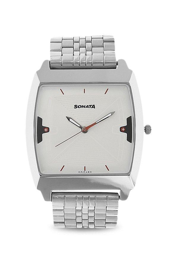 Sonata NK77064SM03 Silver Toned Analog Men's Watch (NK77064SM03)