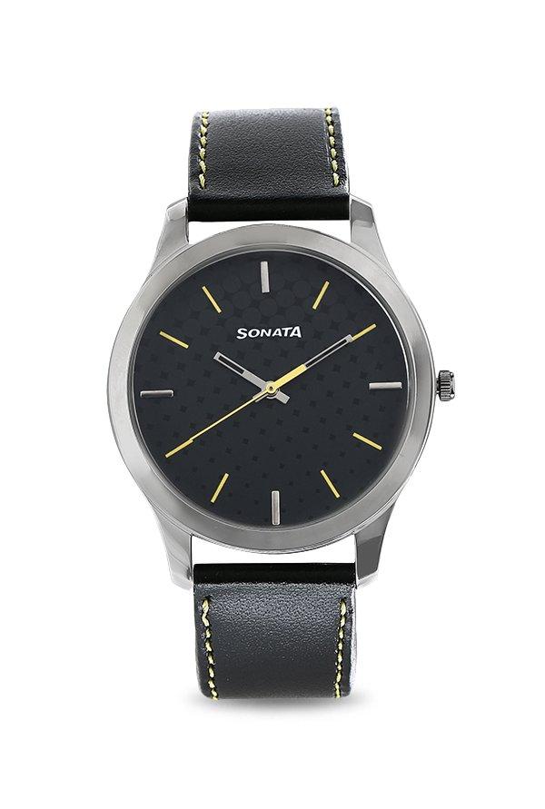 Sonata 77063SL05 Black Analog Men's Watch (77063SL05)