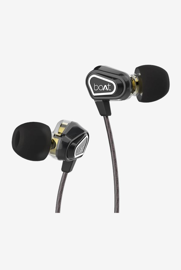 Boat Nirvanaa Black Duo Dual Drivers In-Ear Earphones with In-Line Microphone
