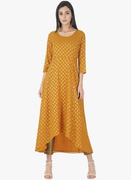 Mustard Anarkali Dress