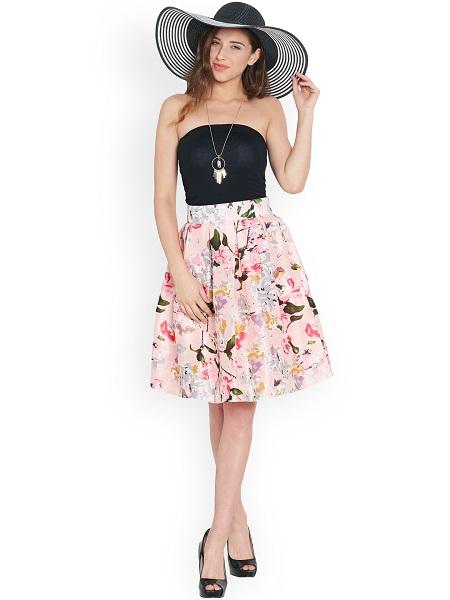 Pink Floral A-Line Skirt