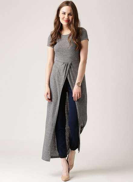 A grey longline top