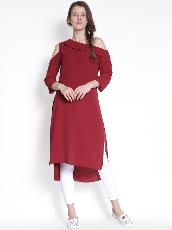 One Shoulder Indo Western Kurti Neck Design