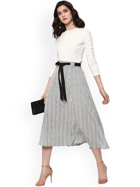 Monochrome Midi Skirt