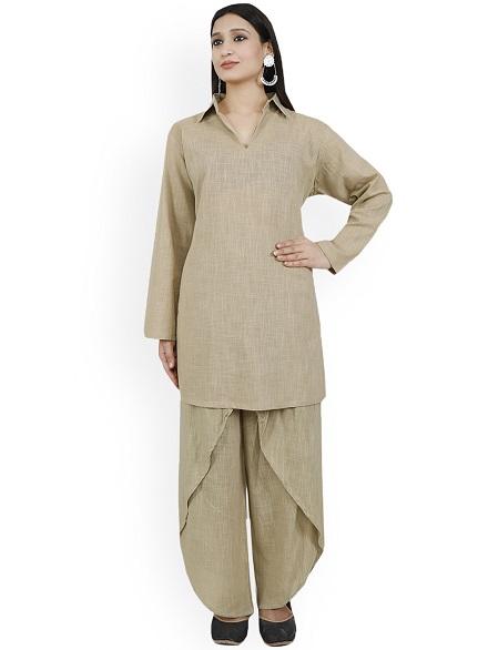 Beige Woven Design Pakistani Kurta