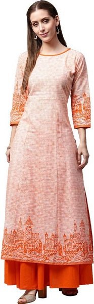 Ethnic Skirt Suit With Orange Prints