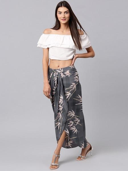 Grey Floral Maxi Skirt