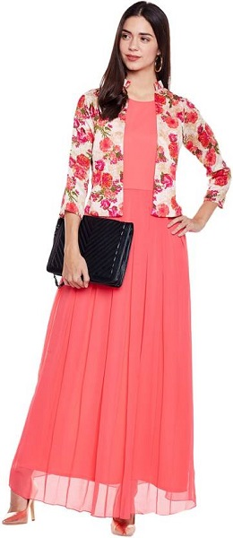 Bright Floral Jacket On Coral