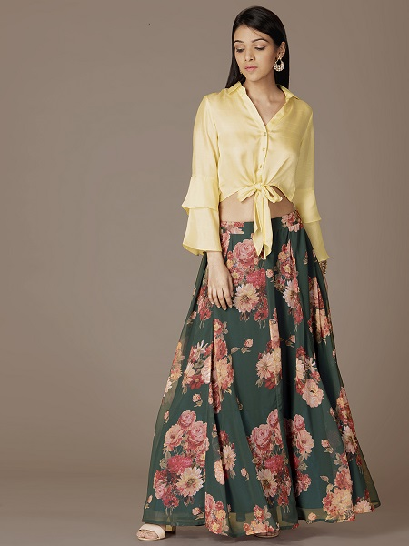 Green Floral Maxi Flared Skirt