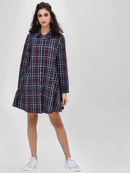 Checkered Shirt Dress