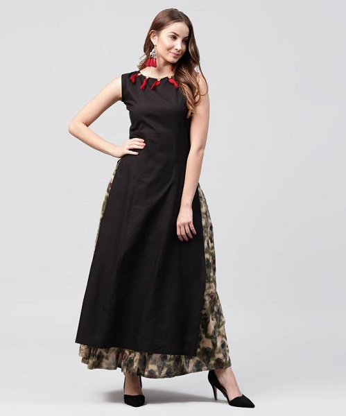 Black Long Kurta Skirt Suit