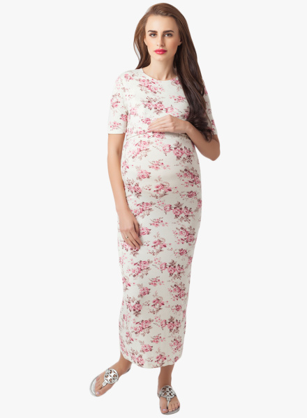 Casual Floral Maternity Dress