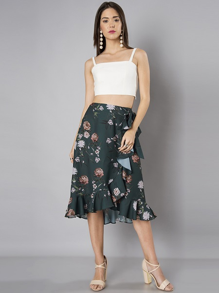 Ruffled Wrap Floral Skirt
