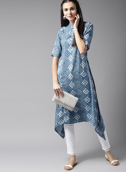 Asymmetrical hem denim kurti Design