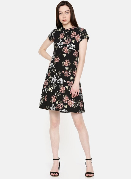 Black Shift Floral Dress