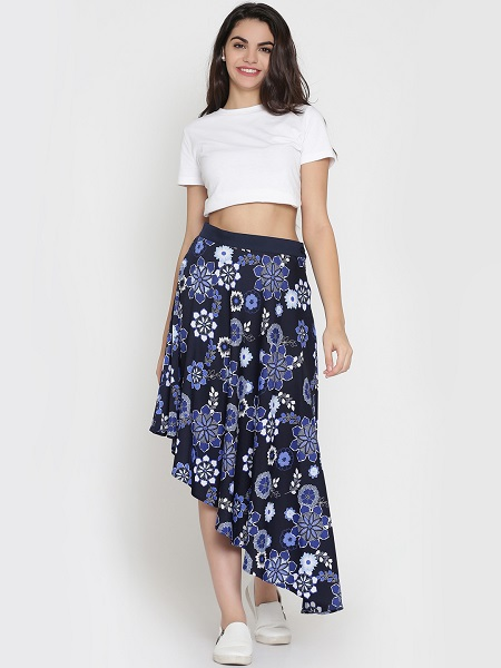Navy Blue Flared Floral Skirt