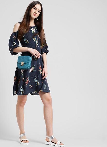 Coral Cold-Shoulder Floral Dress