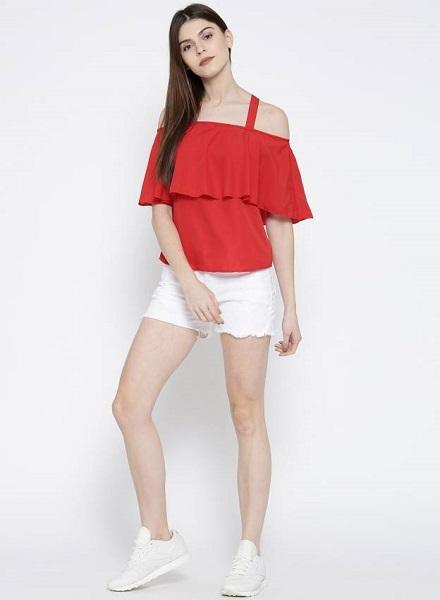 Cold Shoulder red top