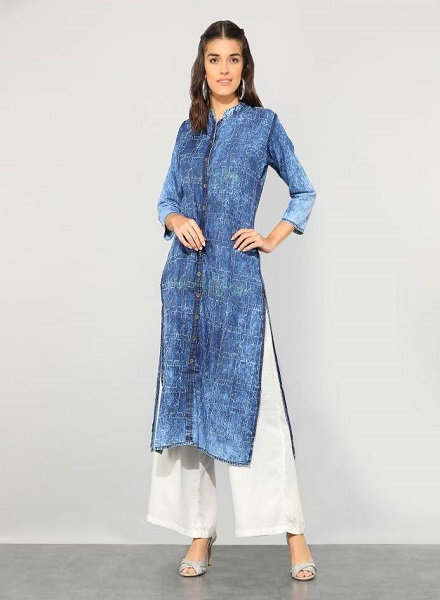 Denim kurti design with side slits