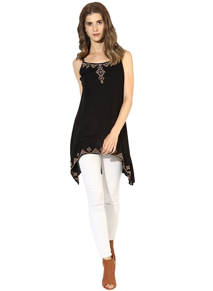 Embroidered Tunic Top with Jeans