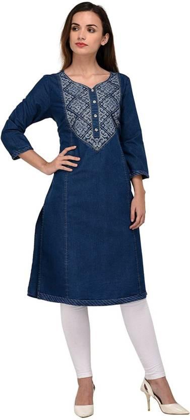 Embroidered denim kurti design