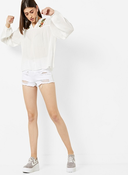 Floral White Shirt