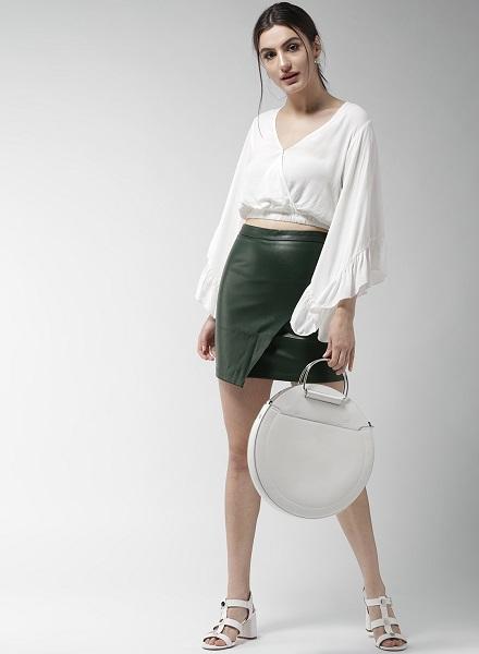 Leather Mini Warp Skirt