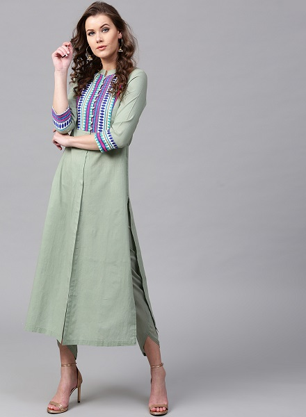 Mandarin collar cotton kurti