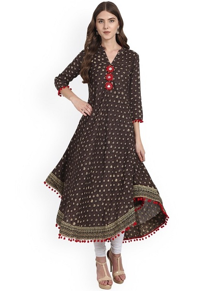 Mirror Work Anarkali Kurti