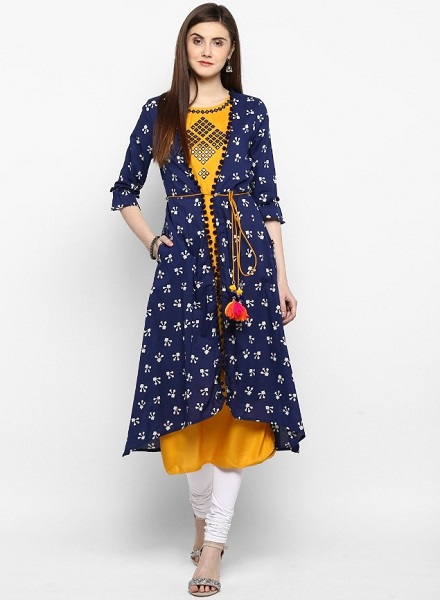 Mirror Work Kurti With Shrug
