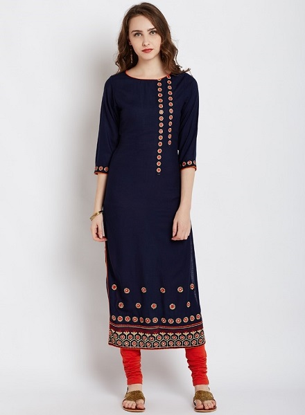 Navy Blue Mirror Work Kurti