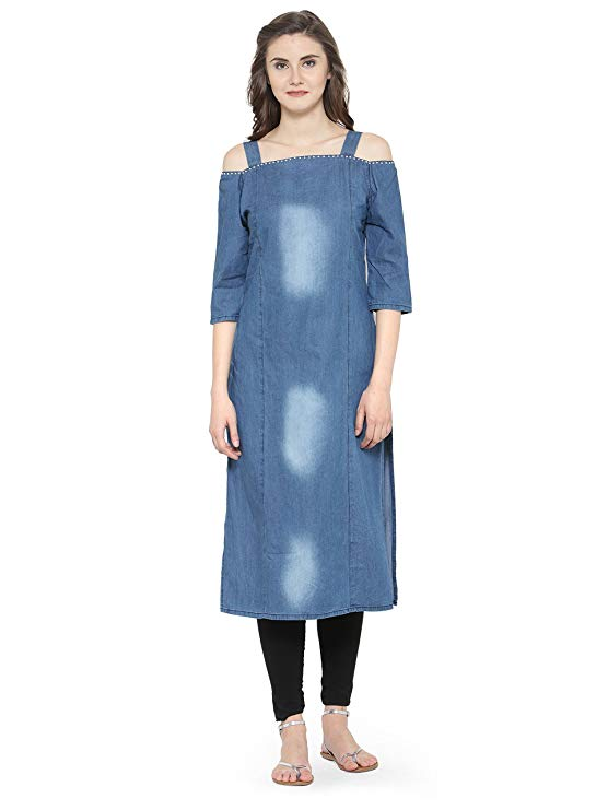 Off Shoulder Denim kurti design