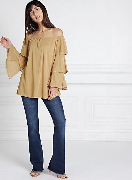 Off-Shouldered Solid Long Top